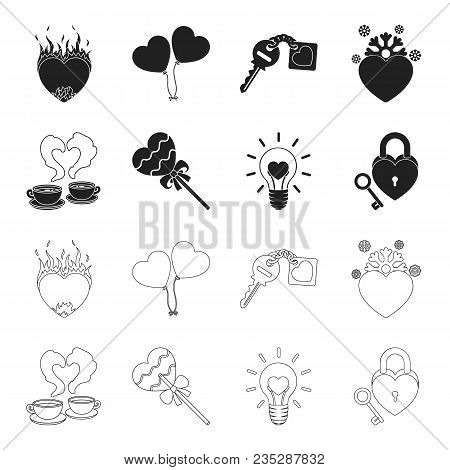 Cups With Coffee, Valentine, Lamp, Lock With Key. Romantic Set Collection Icons In Black, Outline St