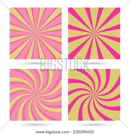 Set Of Sunburst And Swirl Radial Pattern Backgrounds. Colorful, Bright Twirl Rays. Vibrant Beams. Ve