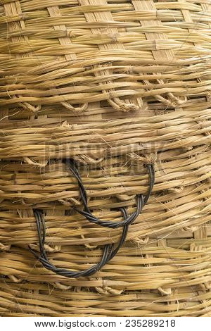 Background Of Stack Of Big Bamboo Basket Weave Texture With Handle Side