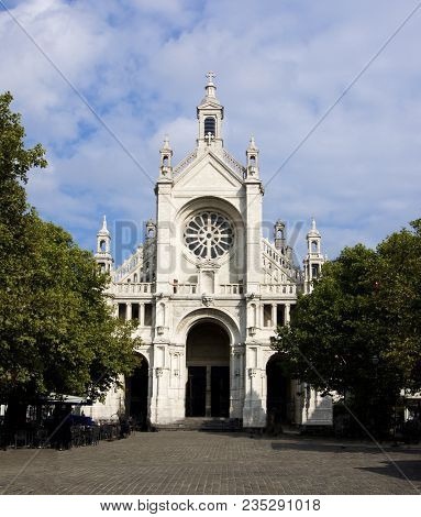 Famous Church Eglise Sainte Catherine In Sunny Day Outdoors. Bruxelles, Belgium