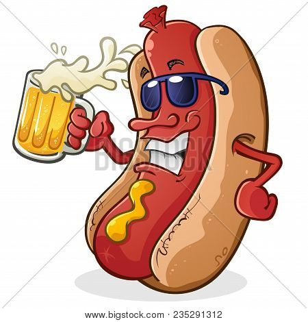 Hot Dog Cartoon Character Wearing Sun Glasses And Drinking A Mug Of Beer With Sunglasses And Attitud