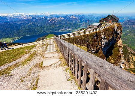 Restaurant At The Schafberg Viewpoint, Upper Austria. Schafberg Viewpoint Located In The Salzkammerg