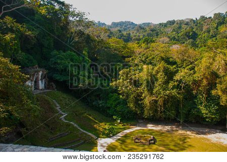 Mayan Ruins Taken Over By Lush Jungle. Palenque, Chiapas, Mexico. Palenque Ruins Chiapas Mexico