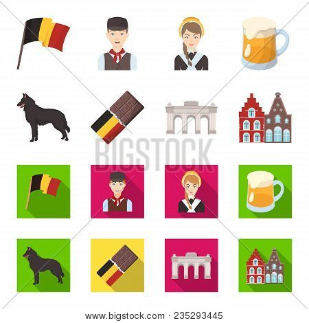 Chocolate, Cathedral And Other Symbols Of The Country.belgium Set Collection Icons In Cartoon, Flat
