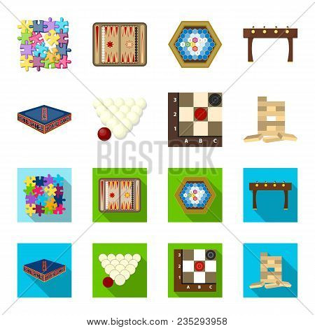 Board Game Cartoon, Flat Icons In Set Collection For Design. Game And Entertainment Vector Symbol St