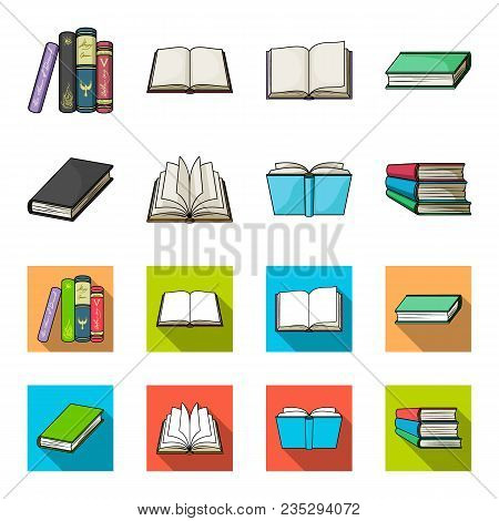 Various Kinds Of Books. Books Set Collection Icons In Cartoon, Flat Style Vector Symbol Stock Illust