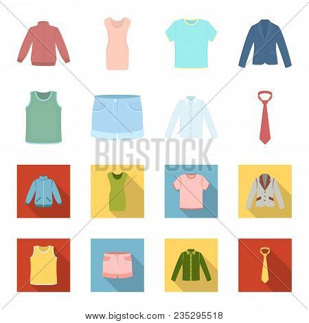 Shirt With Long Sleeves, Shorts, T-shirt, Tie.clothing Set Collection Icons In Cartoon, Flat Style V