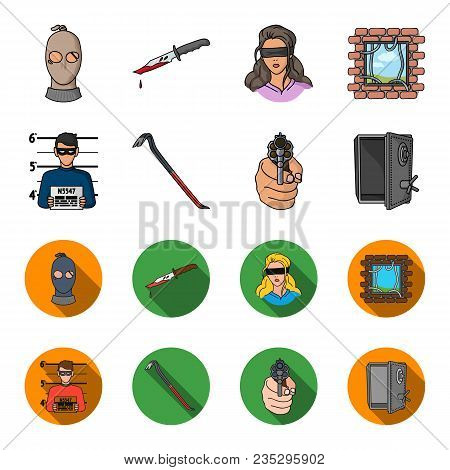 Photo Of Criminal, Scrap, Open Safe, Directional Gun.crime Set Collection Icons In Cartoon, Flat Sty