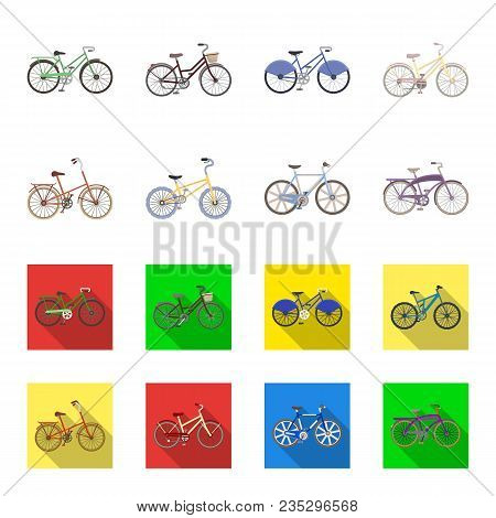 Children Bicycle And Other Kinds.different Bicycles Set Collection Icons In Cartoon, Flat Style Vect