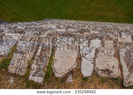 The Texture Of The Stone Plan. The Famous Archaeological Complex. Mayan Ruins In Palenque, Chiapas,