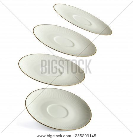 Porcelain Saucers Isolated On White Background In Various Angles As A Concept Of Flying Saucers Call