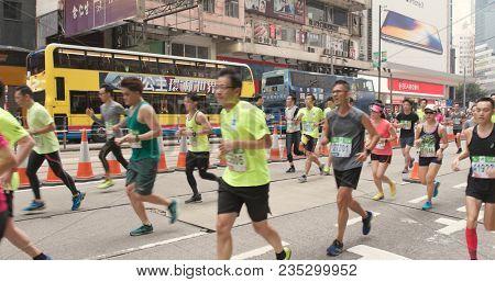 Causeway Bay, Hong Kong, 21 January 2018:-Standard chartered marathon in Hong Kong