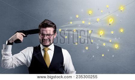 Man shoots his head with gun and idea bulbs are coming out from his head