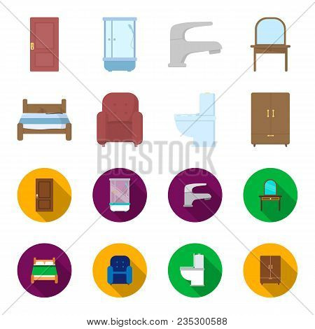 A Bed, An Armchair, A Toilet, A Wardrobe.furniturefurniture Set Collection Icons In Cartoon, Flat St