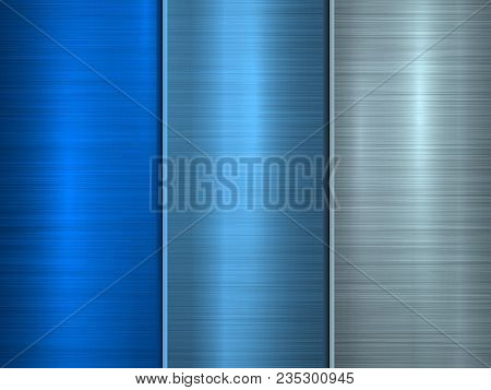 Blue Metal Technology Background With Polished, Brushed Circular Concentric Texture, Chrome, Silver,