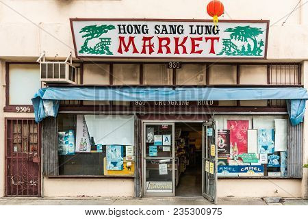 Los Angeles, Ca, Usa - April 5, 2018: Hong Sang Lung Grocery Store Market In Chungking Road Central
