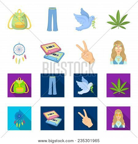 Amulet, Hippie Girl, Freedom Sign, Old Cassette.hippy Set Collection Icons In Cartoon, Flat Style Ve