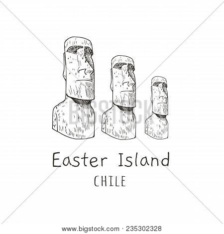 Stone Statues Of Moai (statue, Idol) Chile, Easter Island. Vector Illustration  Tourist Attraction.