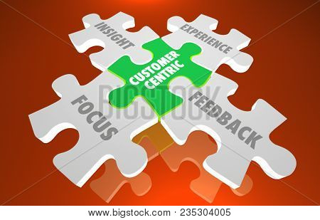Customer Centric Puzzle Focus Insight Experience Feedback 3d Illustration