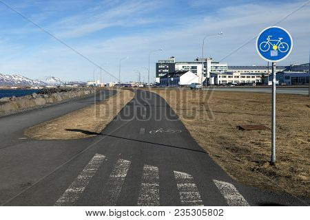 The Bicycle Path Along The Shore Walk In Reykjavik Iceland