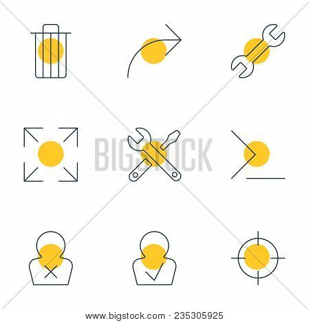 Vector Illustration Of 9 Ui Icons Line Style. Editable Set Of Publish, Trash, Full Screen And Other