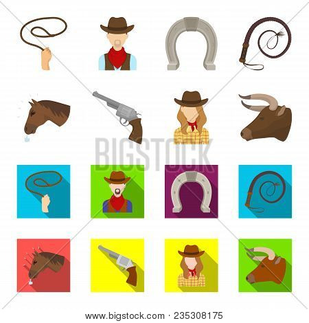 Head Of A Horse, A Bull Head, A Revolver, A Cowboy Girl. Rodeo Set Collection Icons In Cartoon, Flat