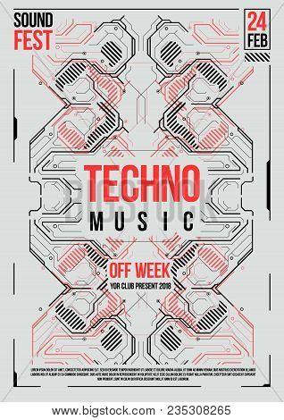 Cyberpunk Futuristic Poster. Retro Futuristic Poster Template. Electronic Music Layout. Modern Club