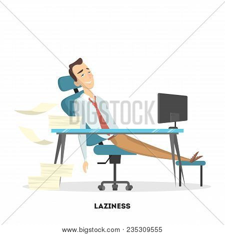 Isolated Lazy Businessman Sitting On Office And Doing Nothing.