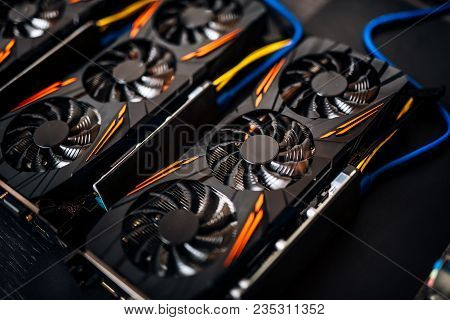 Crypto Currency Mining Rig With Graphics Cards And Gpu. Internet Connected Power Rig Mining Ethereum