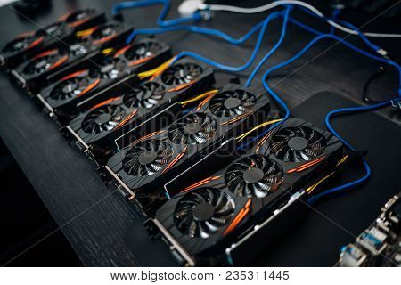 Crypto Currency Mining Components With Graphics Cards And Gpu. Internet Connected Power Rig Mining E