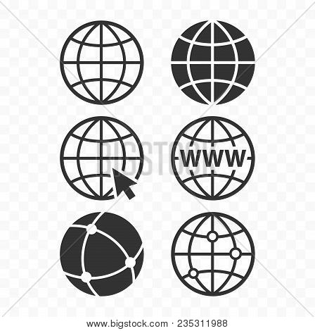 World Wide Web Concept Globe Icon Set. Planet Web Symbol Set. Globe Icons For Websites.