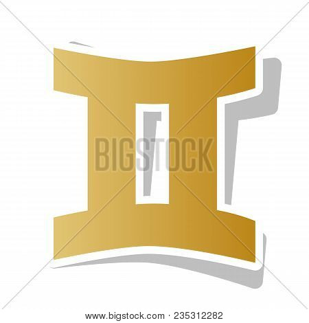Gemini Sign. Vector. Golden Gradient Icon With White Contour And Rotated Gray Shadow At White Backgr