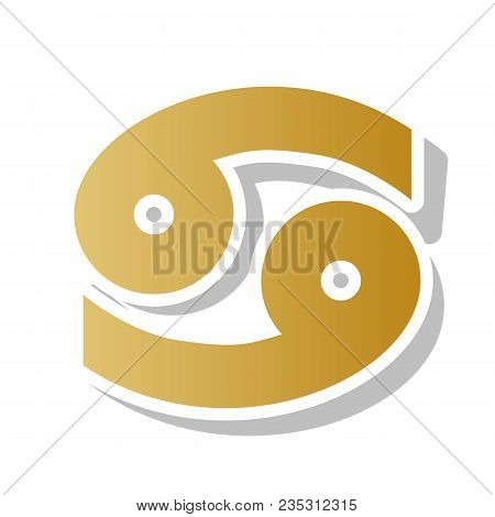 Cancer Sign Illustration. Vector. Golden Gradient Icon With White Contour And Rotated Gray Shadow At