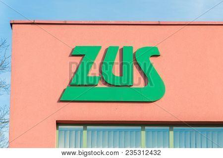 Malbork, Poland - April 4, 2017: Logo Zus (polish: Zaklad Ubezpieczen Spolecznych). Zus Is Polish So