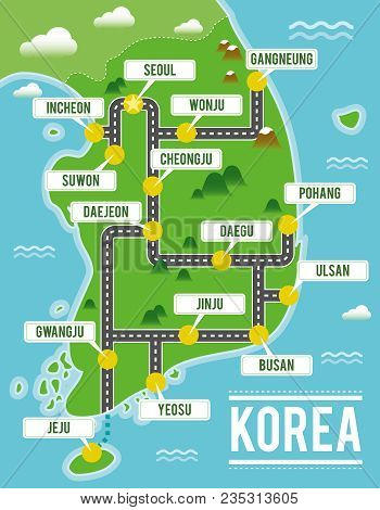 Cartoon Vector Map Of South Korea. Travel Illustration With South Korean Main Cities.