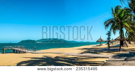 Panoramic View Paradise Sandy Beach On Tropical Island