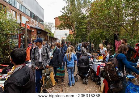 Hanover, Germany - September 14, 2014: People Buying And Selling Things On The Weekly Flea Market At