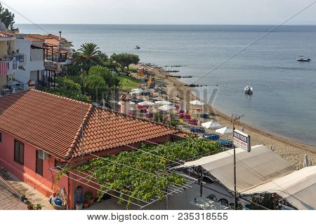 Chalkidiki, Central Macedonia, Greece - August 25, 2014: Panoramic View Of Gea Beach At Sithonia Pen