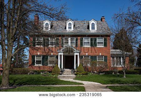 Red Brick Georgian Colonial Home