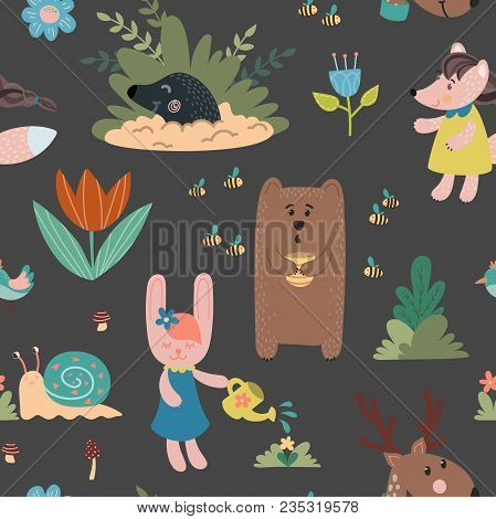 Animals Hand Drawn Seamless Pattern. Bear, Rabbit, Mole, Owl, Deer, Snail, Mouse. Design For Childre