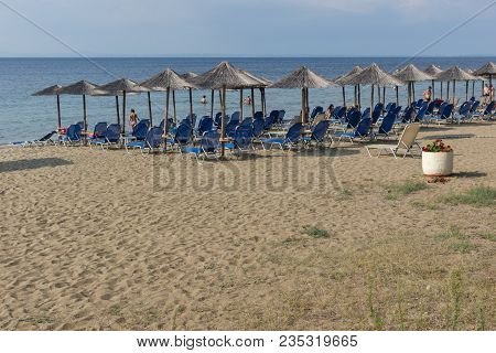Chalkidiki, Central Macedonia, Greece - August 25, 2014: Seascape Of Fisher Beach Psakoudia At Sitho