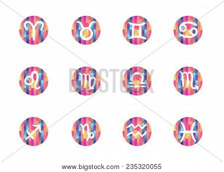 Freehand Gradient Shapes Zodiac Signs Isolated On Pink Circles
