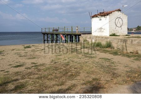 Chalkidiki, Central Macedonia, Greece - August 25, 2014: Panoramic View Of Psakoudia Beach At Sithon
