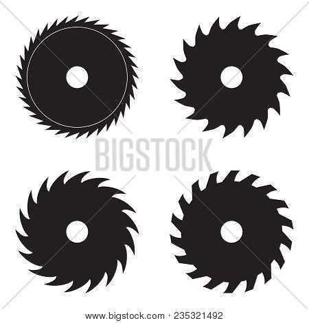 Set Of Circular Saw Blades, Vector Illustration. Icon
