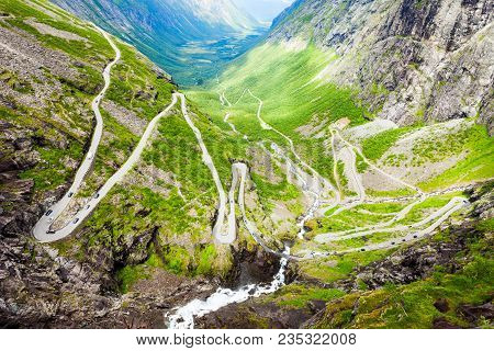 Trollstigen Or Trolls Path Is A Serpentine Mountain Road In Rauma Municipality In Norway