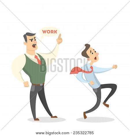Angry Boss Shouting At Male Employee With Documents On White.
