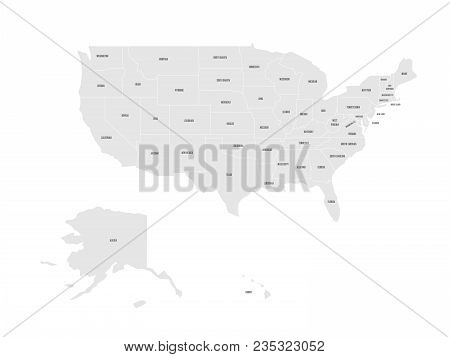 Map Of United States Of America With Name Of Each State. Simplified Grey Vector Map On White Backgro
