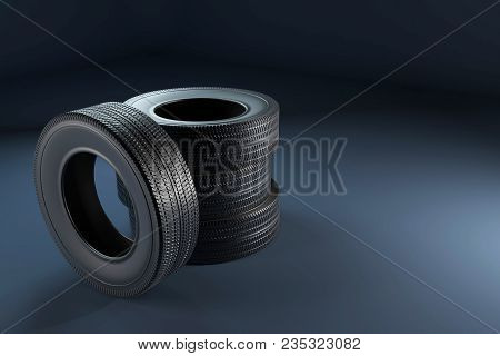 Picture Of The Wheel Tires In High Resolution. 3d Image Of Tires For The Car.