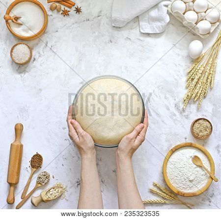 Yeast Dough With Recipe Dough Bread, Pizza Or Pie.  Ingredients On The Background Of The Kitchen Tab