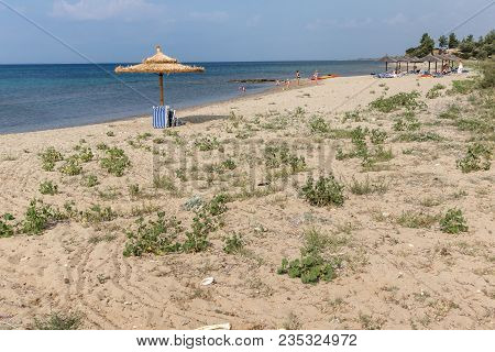 Chalkidiki, Central Macedonia, Greece - August 25, 2014: Panoramic View Of Monopetro Beach At Sithon